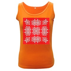 Background For Scrapbooking Or Other Stylized Snowflakes Women s Dark Tank Top