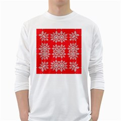 Background For Scrapbooking Or Other Stylized Snowflakes White Long Sleeve T-Shirts