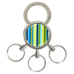 Simple Lines Rainbow Color Blue Green Yellow Black 3 Ring Key Chains