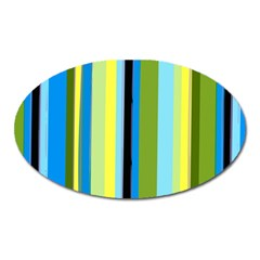 Simple Lines Rainbow Color Blue Green Yellow Black Oval Magnet