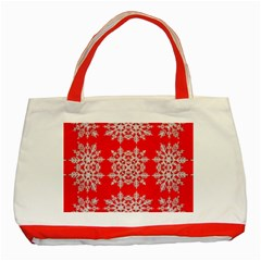 Background For Scrapbooking Or Other Stylized Snowflakes Classic Tote Bag (Red)