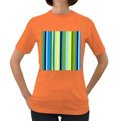 Simple Lines Rainbow Color Blue Green Yellow Black Women s Dark T Shirt
