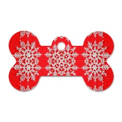 Background For Scrapbooking Or Other Stylized Snowflakes Dog Tag Bone (Two Sides)
