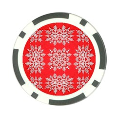 Background For Scrapbooking Or Other Stylized Snowflakes Poker Chip Card Guard