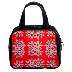 Background For Scrapbooking Or Other Stylized Snowflakes Classic Handbags (2 Sides)