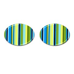 Simple Lines Rainbow Color Blue Green Yellow Black Cufflinks (oval)