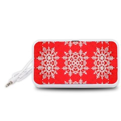 Background For Scrapbooking Or Other Stylized Snowflakes Portable Speaker (White)