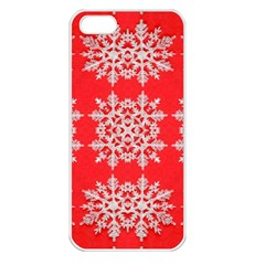 Background For Scrapbooking Or Other Stylized Snowflakes Apple iPhone 5 Seamless Case (White)