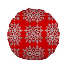 Background For Scrapbooking Or Other Stylized Snowflakes Standard 15  Premium Round Cushions