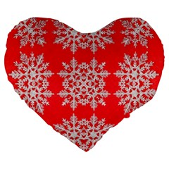 Background For Scrapbooking Or Other Stylized Snowflakes Large 19  Premium Heart Shape Cushions