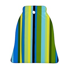 Simple Lines Rainbow Color Blue Green Yellow Black Bell Ornament (two Sides)