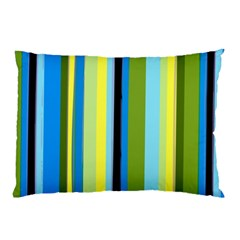 Simple Lines Rainbow Color Blue Green Yellow Black Pillow Case (two Sides)