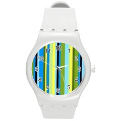 Simple Lines Rainbow Color Blue Green Yellow Black Round Plastic Sport Watch (m)