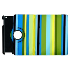 Simple Lines Rainbow Color Blue Green Yellow Black Apple Ipad 2 Flip 360 Case