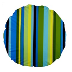 Simple Lines Rainbow Color Blue Green Yellow Black Large 18  Premium Round Cushions