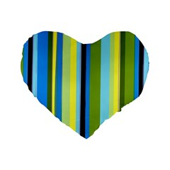 Simple Lines Rainbow Color Blue Green Yellow Black Standard 16  Premium Heart Shape Cushions