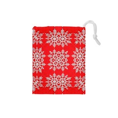 Background For Scrapbooking Or Other Stylized Snowflakes Drawstring Pouches (small)