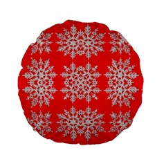 Background For Scrapbooking Or Other Stylized Snowflakes Standard 15  Premium Flano Round Cushions