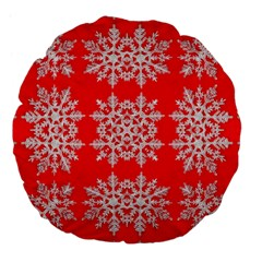 Background For Scrapbooking Or Other Stylized Snowflakes Large 18  Premium Flano Round Cushions