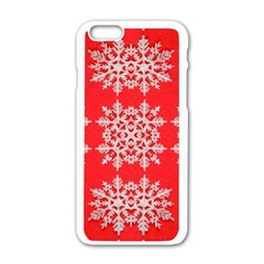 Background For Scrapbooking Or Other Stylized Snowflakes Apple iPhone 6/6S White Enamel Case