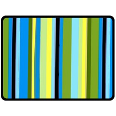 Simple Lines Rainbow Color Blue Green Yellow Black Double Sided Fleece Blanket (large)