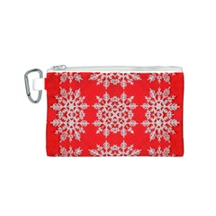 Background For Scrapbooking Or Other Stylized Snowflakes Canvas Cosmetic Bag (S)