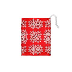 Background For Scrapbooking Or Other Stylized Snowflakes Drawstring Pouches (xs)