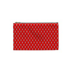 Red Skull Bone Texture Cosmetic Bag (small)