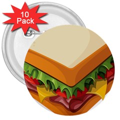 Sandwich Breat Chees 3  Buttons (10 Pack)