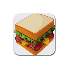 Sandwich Breat Chees Rubber Square Coaster (4 Pack)