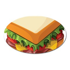 Sandwich Breat Chees Oval Magnet