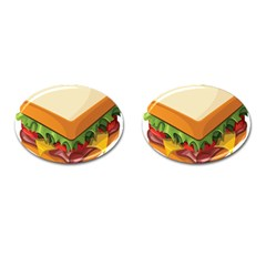 Sandwich Breat Chees Cufflinks (oval)