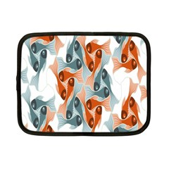 School Fish  Orange Grey Netbook Case (small)