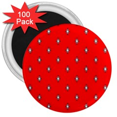 Simple Red Star Light Flower Floral 3  Magnets (100 Pack)