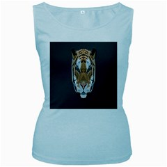 Tiger Face Animals Wild Women s Baby Blue Tank Top