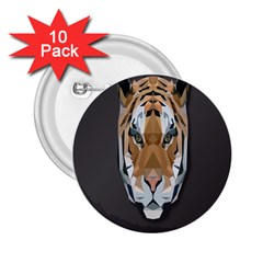 Tiger Face Animals Wild 2 25  Buttons (10 Pack)