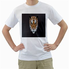 Tiger Face Animals Wild Men s T Shirt (white) (two Sided)