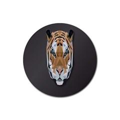 Tiger Face Animals Wild Rubber Round Coaster (4 Pack)