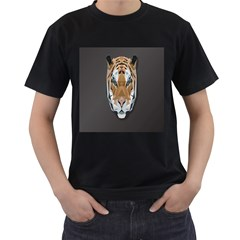 Tiger Face Animals Wild Men s T Shirt (black) (two Sided)