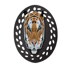 Tiger Face Animals Wild Oval Filigree Ornament (two Sides)