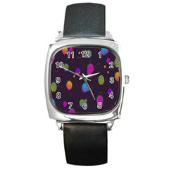 Spots Bright Rainbow Color Square Metal Watch