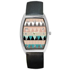 Triangle Wave Chevron Grey Barrel Style Metal Watch