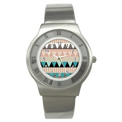 Triangle Wave Chevron Grey Stainless Steel Watch