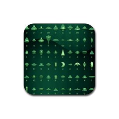 Ufo Alien Green Rubber Coaster (square)