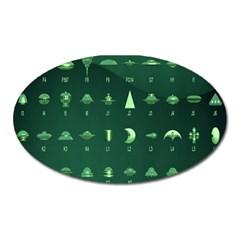 Ufo Alien Green Oval Magnet