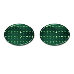 Ufo Alien Green Cufflinks (oval)