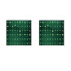 Ufo Alien Green Cufflinks (square)