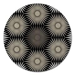Sunflower Black White Magnet 5  (round)