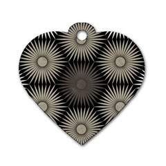 Sunflower Black White Dog Tag Heart (two Sides)