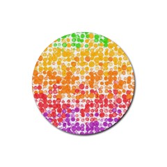 Spots Paint Color Green Yellow Pink Purple Rubber Round Coaster (4 Pack)
